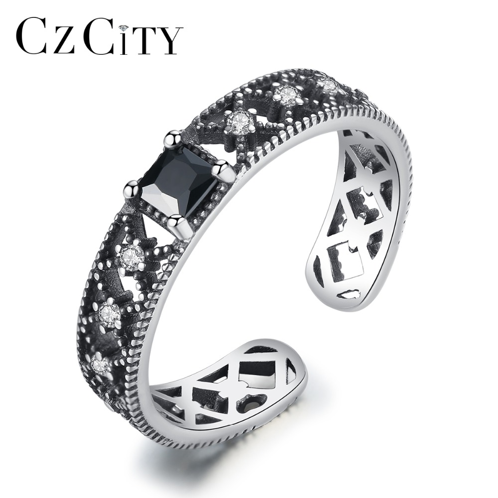 CZCITY Geometric Authentic 925 Sterling Silver Rings For Women Hollow Design Zircons Fashion Ring Jewelry Factory Directly Sale