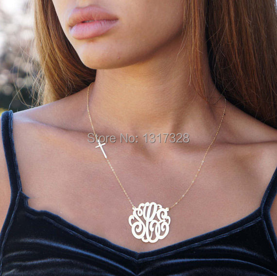 Sterling silver monogram necklaceinitial pendantwomen necklace sterling silver monogram necklaceinitial pendantwomen necklace crosscustom initial necklace pendants aloadofball Images