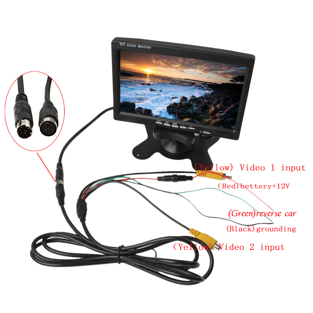 7 Inch 2CH HD 800*480 TFT Color LCD Screen Car Rear View Camera Monitor for Rear View Camera Auto Parking Backup Reverse Monitor diykit ir night vision ccd rear view car camera white 7 inch hd tft lcd car monitor reverse rear view monitor screen