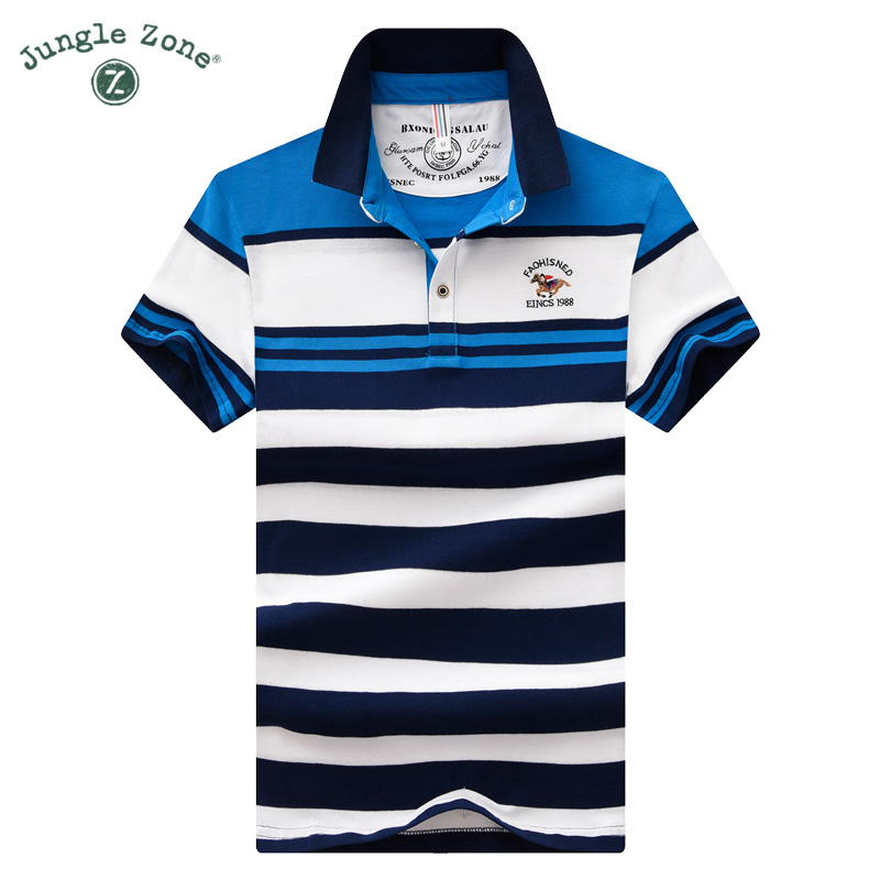 2018 NEW Stripe hit color Tops 100% cotton Mens Polo Shirt short-sleeved polo shirt Busi ...