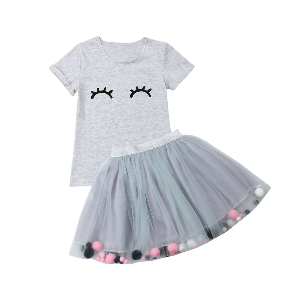 d20f44334 1-4Years 2PCS Toddler Kids Baby Girl Outfits Clothes T-shirt Tops+Tutu