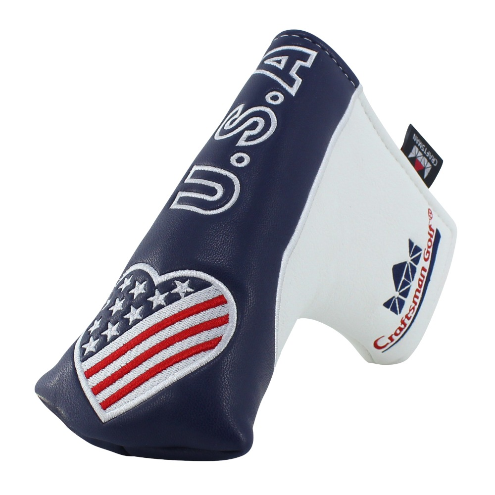 Craftsman Golf  Club Head Cover USA PU Leather Blade Putter Golf Protector Golf Club Putter Cover Magnet Closure Free Shipping