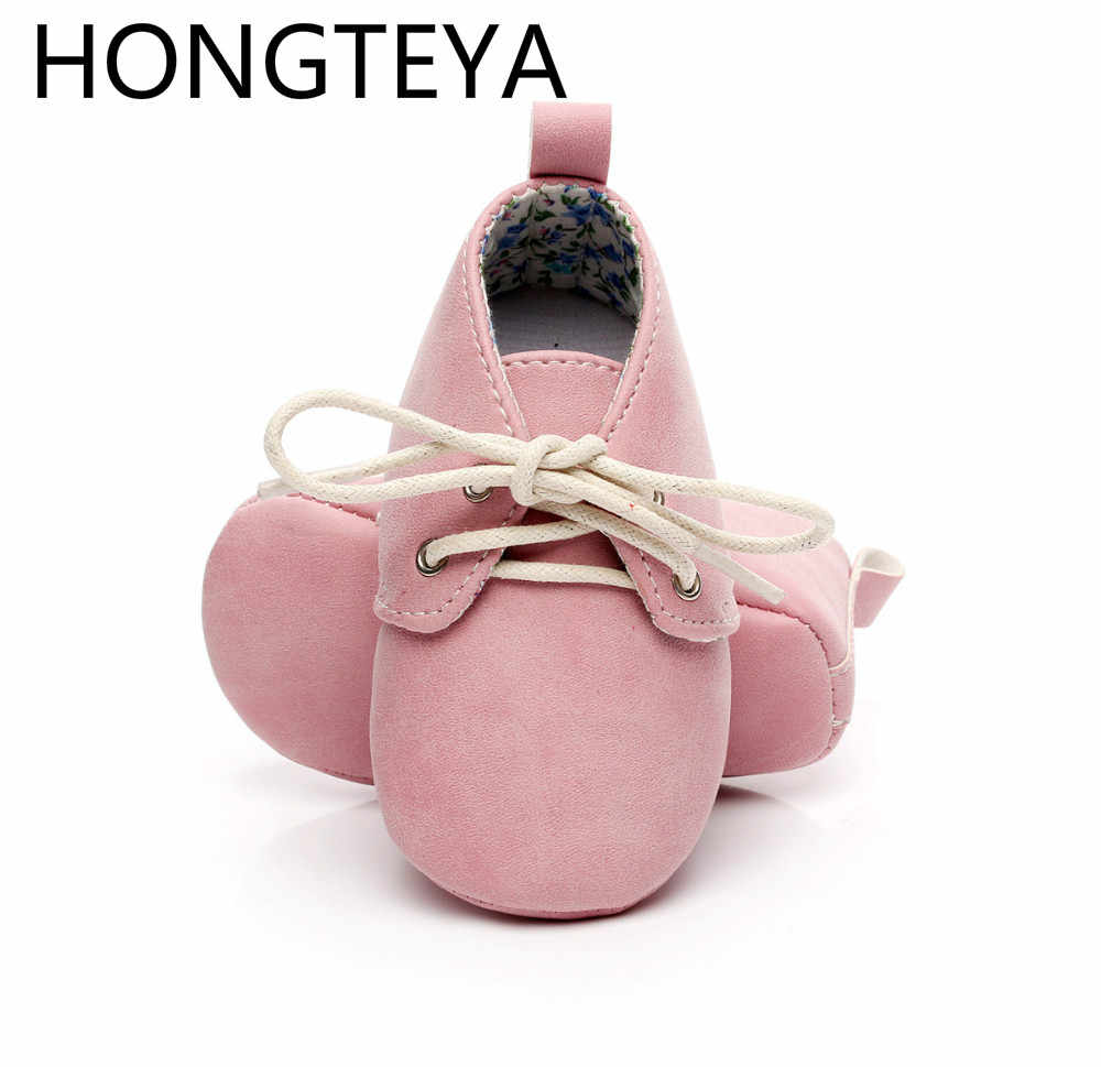 2019 HONGTEYA spring jean baby oxford shoes pu leather lace up girls boy soft sole Baby Moccasins kids newborn toddlers shoes