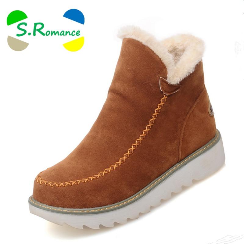 S. romantik Plus Größe 34-43 Mode Frauen Stiefel Runde Kappe Knöchel Schnee Stiefel Slip-Auf Weibliche Frauen Schuhe schwarz Beige Braun SB851