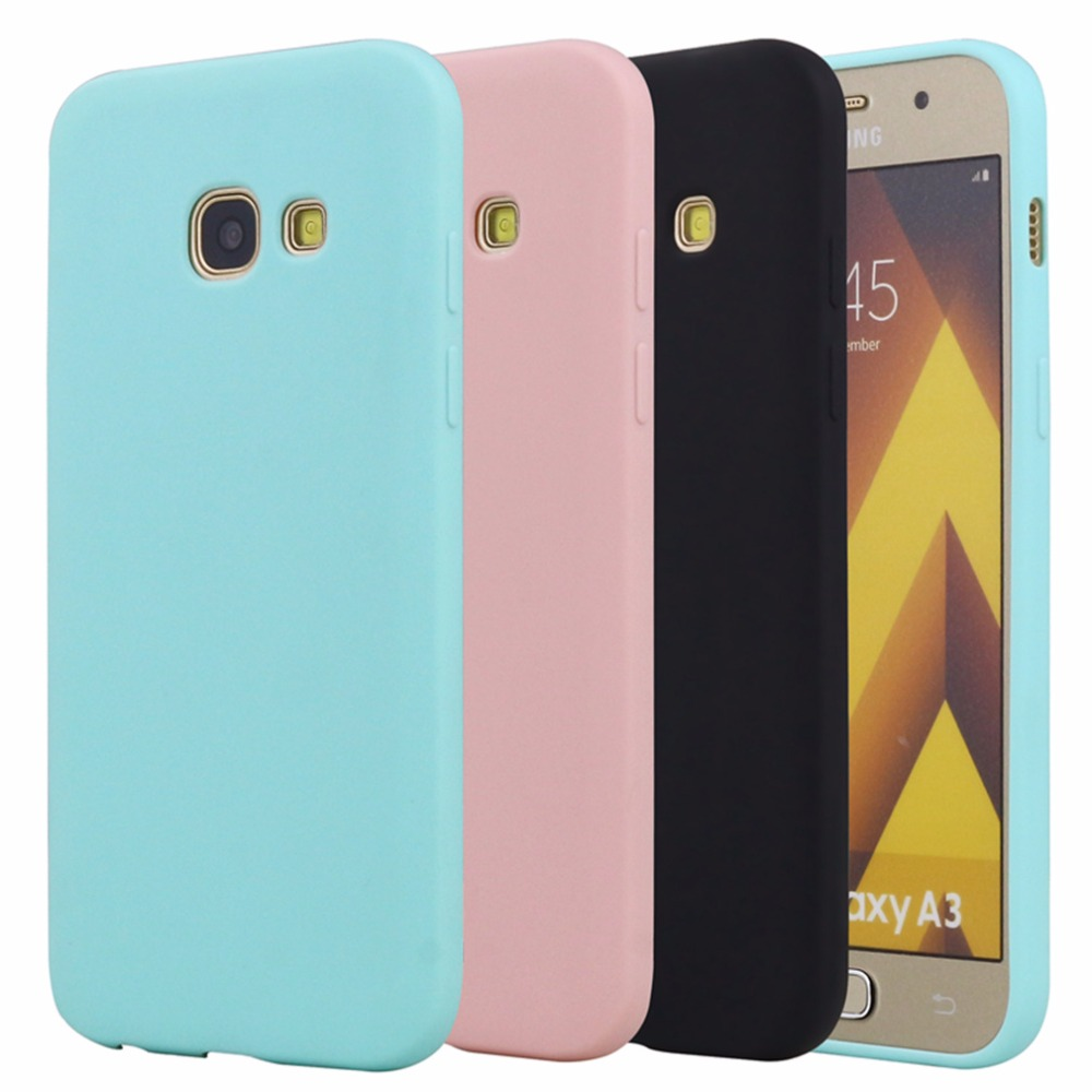 Rubber TPU Silicone Back Cover Case For Samsung Galaxy A3 2016 2017 Candy Color Soft TPU Phone Case For Samsung A3 2016 Case