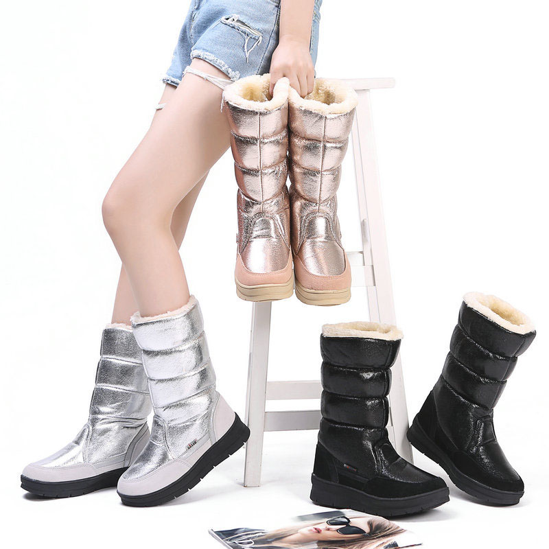 Y black Alta Mujer La Los Plana Para tubo silver Vestir De Botas Zapatos Las Ligero Elegante Mujeres Nieve Moda Pedicura Champagne Invierno gtq0nddRp
