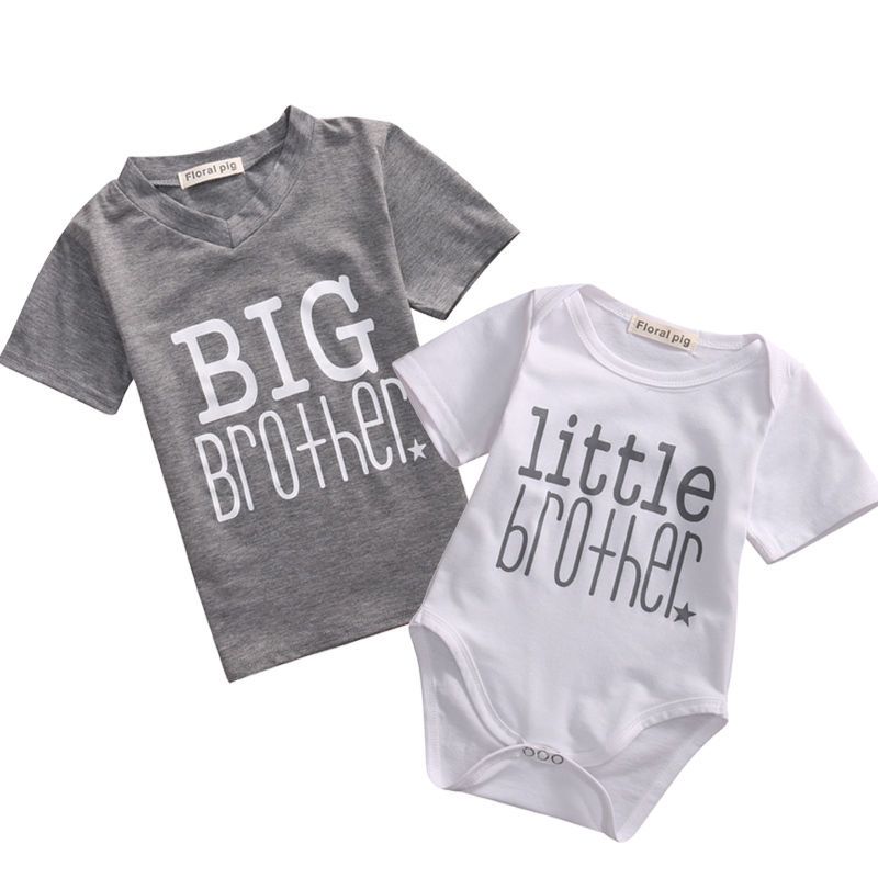 Big//Little Brother Matching Clothes Tops Toddler Infant Baby Boy T-shirt Romper