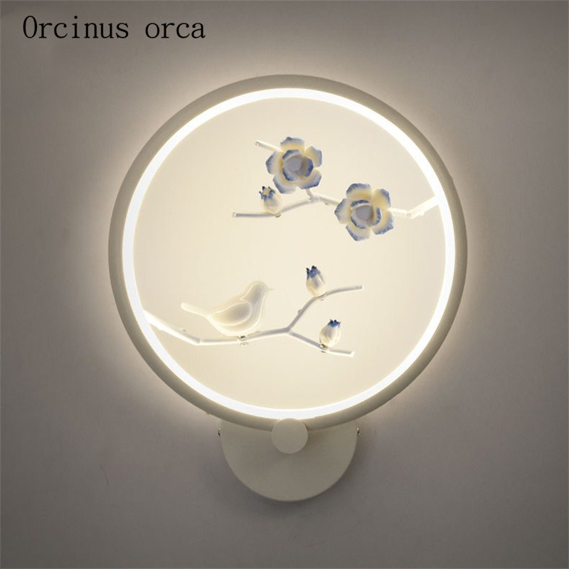New Chinese creative bird wall lamp living room aisle bedroom bedside lamp Chinese style Zen simple LED wall lamp free shipping wall lamp bedside lamp bedroom aisle living room modern simple wall aluminum lamp led warm personality creative corridor chinese