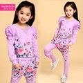 Bebê meninas roupas set flor imprimir camisa de manga longa + calça subiu decoração roupas meninas definir a primavera outono crianças princesa set