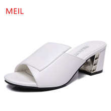 New Women Gladiator Sandals Slippers Women Leather Open Toe High Heels Pumps Shoes Summer Chunky Heel Sexy Female Sandals 5CM sexy women heeled sandals summer shoes women gladiator sandals open toe women shoes high heels wedding female shoes plus size de