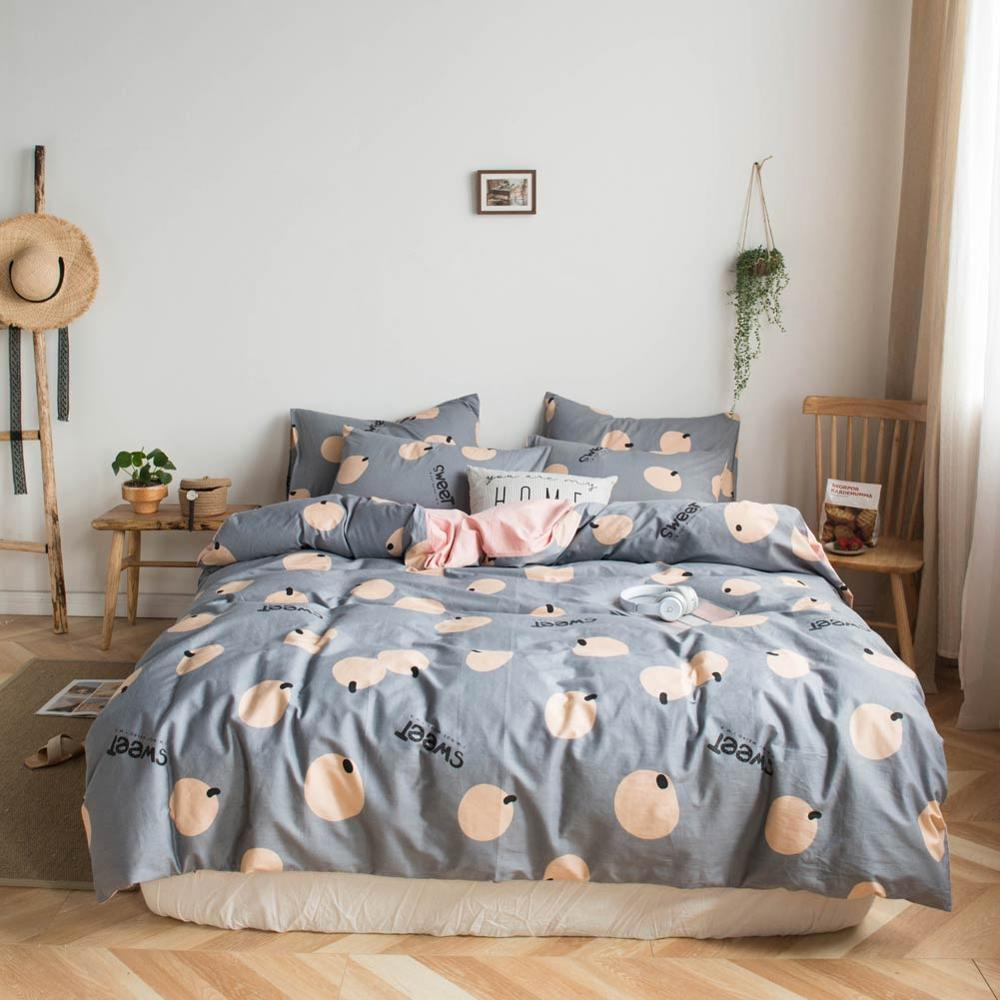 2019 Orange Fruit Grey Bed Cover Duvet Cover Set Cotton Bedding Set Bedlinens Twin Queen King Flat Sheet Fitted Sheet