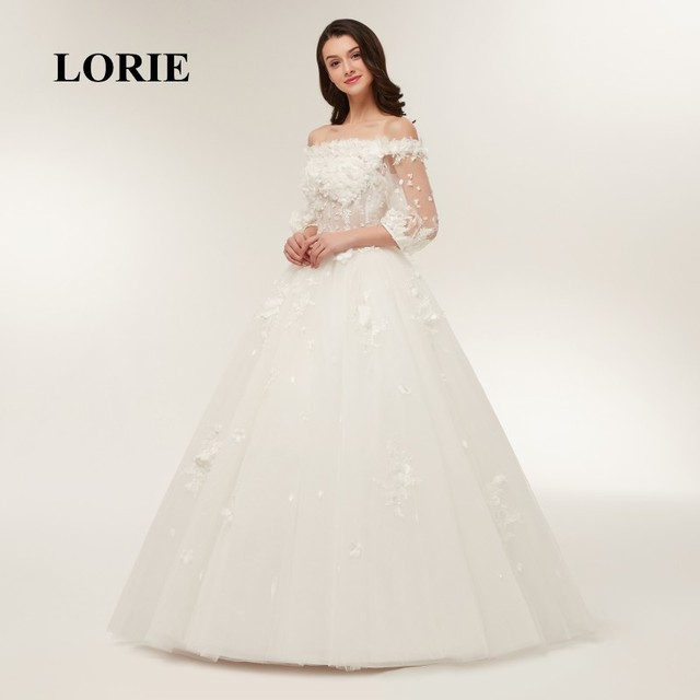 Lorie Wedding Dresses 2018 Ball Gown Boat Neck Appliques With Flower