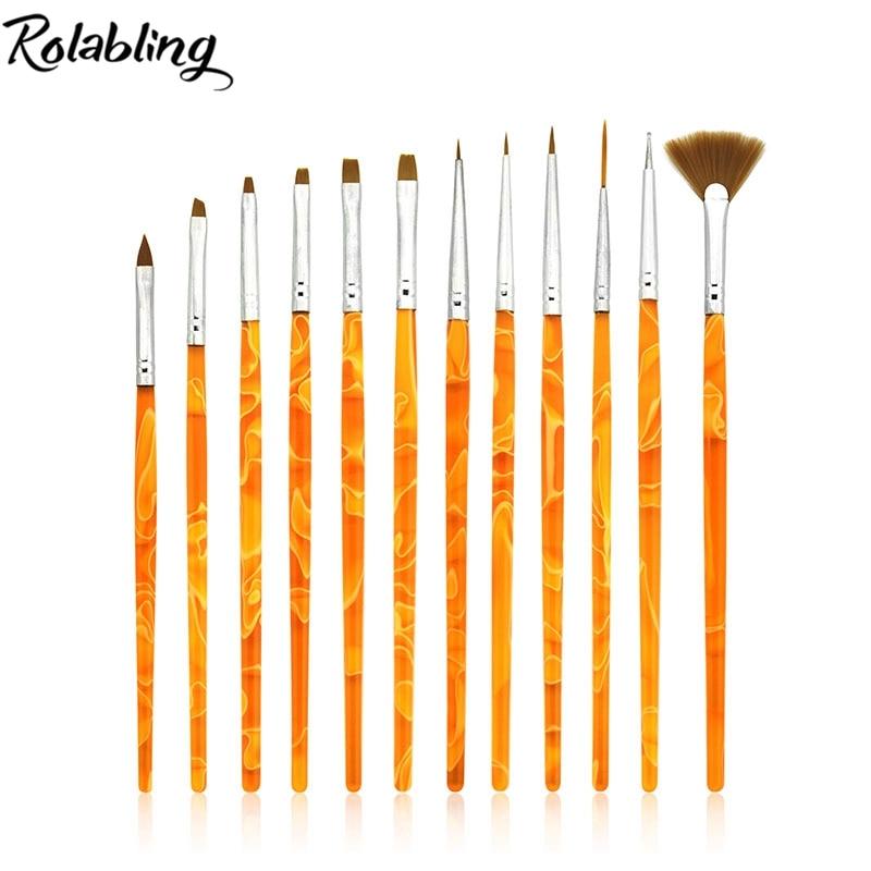 2015 en gros 50 ensemble/lot nouveauté professionnel gel Nail Art brosse ensemble Design peinture stylo parfait pour naturel 12 pièces/ensemble