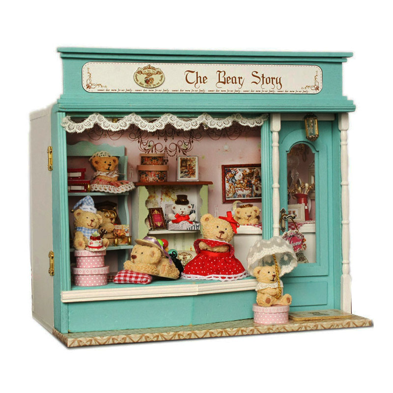 New DIY Doll House Room Bear Story Shop Miniatures LED Furniture Kit Light