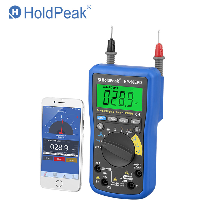HoldPeak HP-90EPD Mobile Phone APP Auto Range multimeter Digital AC DC Voltage 4000 Counts Resistance Frequency Auto Back light цена
