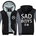 2016 Mens Winter Hoodie Sad boys club Thicken Fleece Coat Sad Boys Kiyoto Zipper Jacket US EU Plus Size