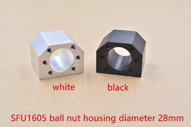 DSG16H inner hole 28mm RM1605 nut housing bracket holder white or black for 16mm ball screw SFU1605 SFU1604 SFU1610 1pcs
