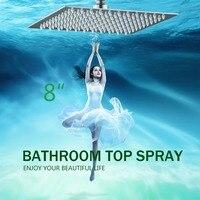 Modern New Bathroom Wall Mounted Chrome Stainless Steel Square Rain Shower Head 8 Shower Sprayer