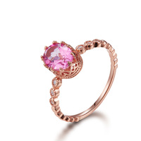 Fashion Rose Pink Topaz 925 Sterling Silver Ring