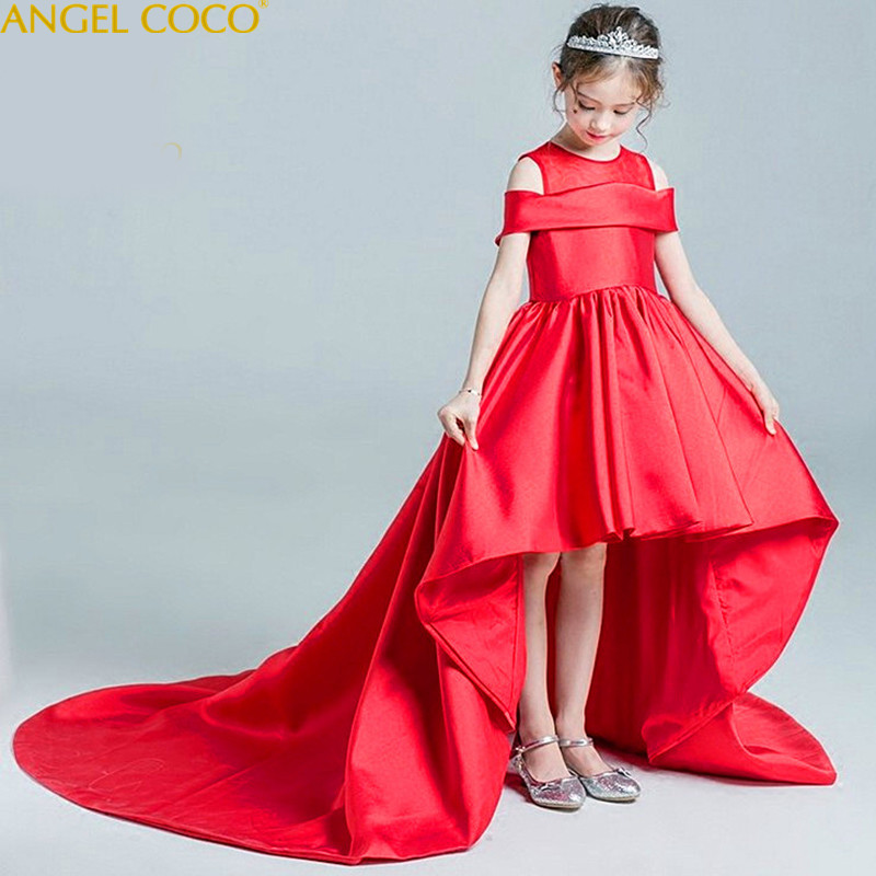 Red 2018 Satin Formal Evening Wedding Gown Princess Dress Flower Girls Children Clothing Kids Party For Girl Clothes Robe Fille abgmedr teens formal princess costume girls prom gown dress flower wedding dress girl party clothes children clothing for girl