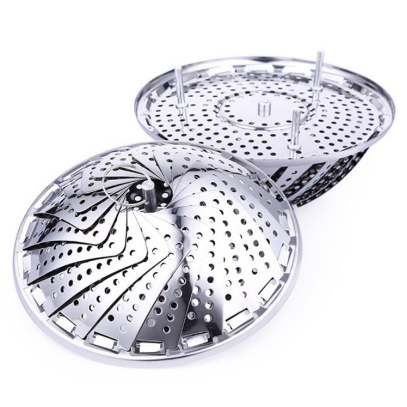 2019 Stainless Steel Multifunctional Steamer Plate Silver Magic Retractable Folding Steaming Fruit Plate Disk