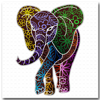 Elephant Floral Batik Art Print Large Canvas No Frame Elephant Painting Canvas Wall Art Picture Home