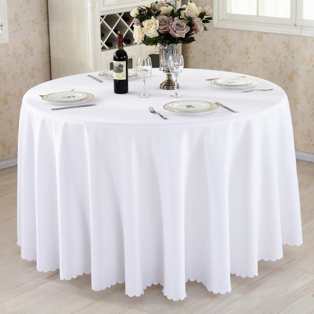 Wholesale Wedding Table Linens 1PCS-LOT Wholesale Polyester Round Tablecloth For Wedding Hotel Decor White  Table Cloth Square Table Linen Dining Table Cover