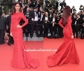 Sexy Katrina Kaif Red Long Sleeve Mermaid Lace Sheath Evening Dresses Celebrity Dress Cannes Festival 2015 Evening Gowns CD11