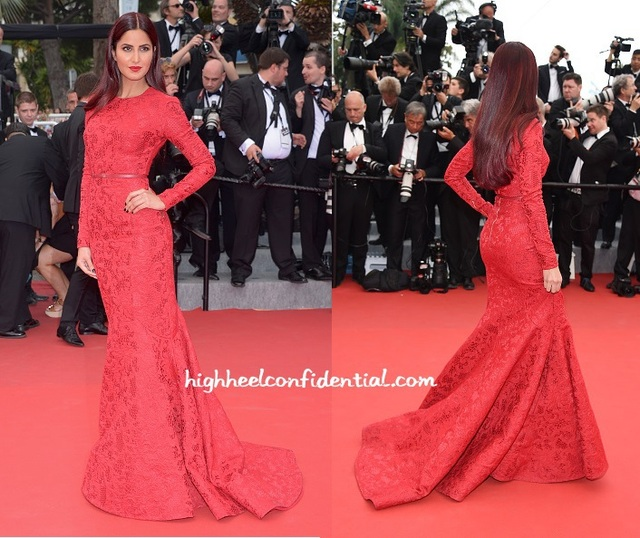 Sexy Katrina Kaif Red luva longa da sereia Lace bainha vestidos de noite da celebridade vestido de Cannes Festival 2015 vestidos de noite CD11