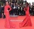 Sexy Katrina atolón rojo de manga larga vaina cordón de la sirena de noche de la celebridad Festival de Cannes 2015 vestidos de noche CD11