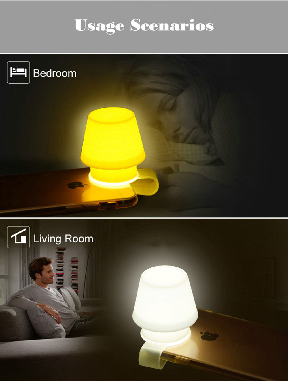 Téléphone Usage Lumière Lampe Support Mini Mobile Led Atmosphère Table Cadeau Silice Page Multi Chevet Nuit Pour De Marque SGqUMzVp