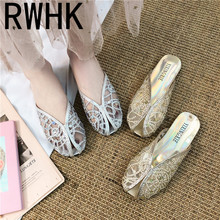 RWHK 2019 summer lace sequins hollow one-legged slippers women comfortable breathable wild flat mesh shoes lazy drag B157