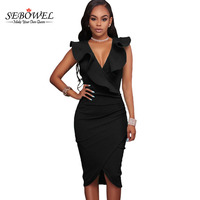 SEBOWEL Women Summer Sleeveless Dress Sexy Solid Turquoise Ruffle V Neck Bodycon Midi Tight Wrap Party