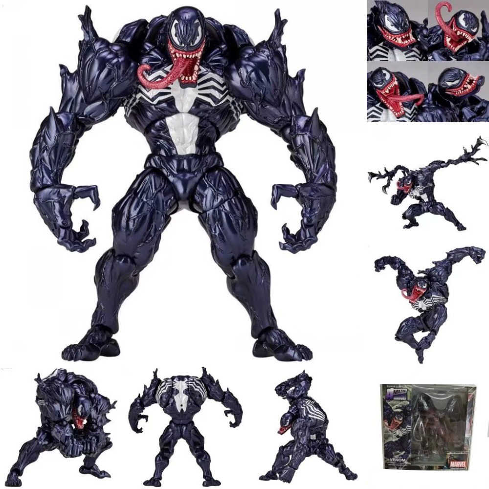 FIGMA Série N ° 003 Revoltech 002 Spiderman Venom No.1 No.2 001 Deadpool Com Suporte de PVC Action Figure Toy Model Collection 15 cm