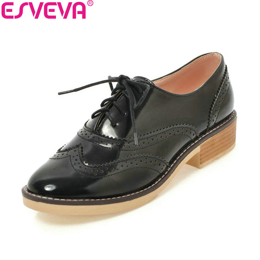 ESVEVA 2018 Women Pumps Round Toe Casual Shoes Handmade Western Style Lace Up Square Med Heels Out Door Women Shoes Size 34-43 2017 shoes woman genuine leather flower round toe lace up preppy style med heels pumps for women young lady casual shoes l02