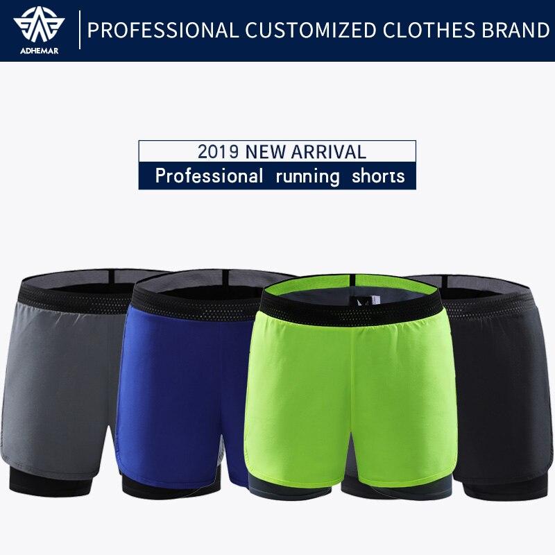 Adhemar Quick Dry Men Running Shorts Professional Marathon Shorts Male Breathable Sports Shorts With Pocket