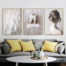 Modern Minimalist Nordic Portrait Canvas Painting Angel Feather Wings Murals Wall Art Poster For Living Room