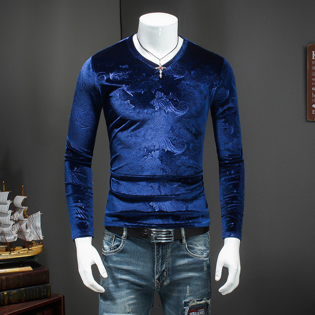 eb3fbcdbc74d V Neck T Shirts for Men Slim Fit Velvet T Shirts Mens Royal Blue Winter  Tshirt for Men Brown Tee Fashion 2018 Cashew Flowers Top