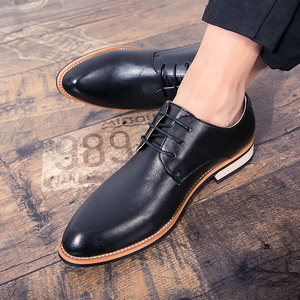 Image 5 - BIMUDUIYU  Cowhide Leather Dress Shoes For Men Fashion Oxford Formal Shoes Spring Pointed Toe Wedding Business Casual Shoe