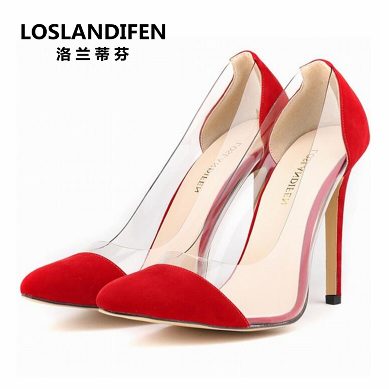 Pomlad jesen modni bombonski barvi konica 11 cm fini škornji z visokimi petami pvc šivanje jate čevlje velike velikosti Eur 42