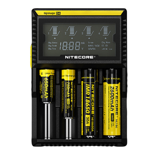Image 2 - 100% Original Nitecore D4 Battery Charger LCD Intelligent Charger Li ion 18650 14500 16340 26650 AAA AA 12V
