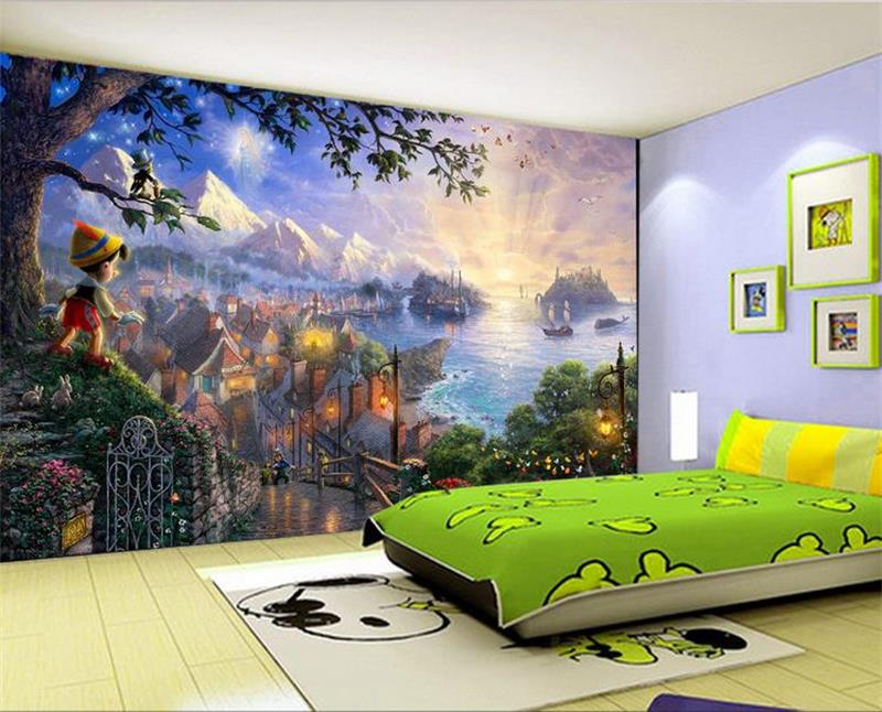 custom size kids mural 3d photo wallpaper living room sticker fairy tales boy under tree painting picture wallpaper for wall 3d Обои
