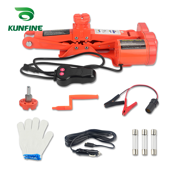KUNFINE 12 V 5Ton voiture électrique pneu levage voiture vérins hydraulique Air gonflable voiture plancher Jack avec DC12V électrique clé à chocs