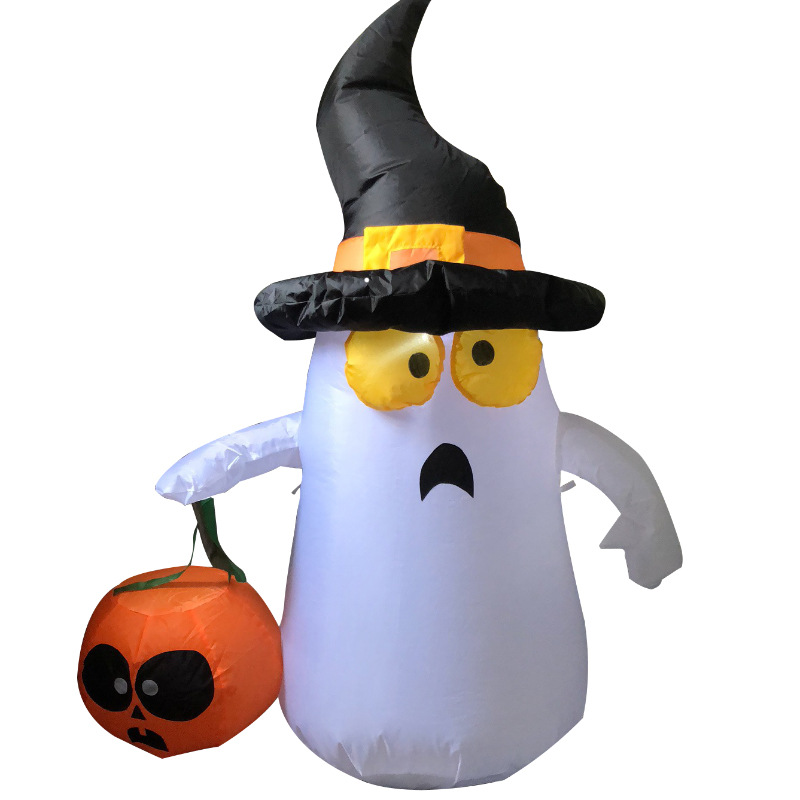 120cm Giant Inflatable Ghost /Pumpkin Halloween LED Lighted Toys Indoor Outdoor Yard Decos Christmas New Year Party Prop Blow Up