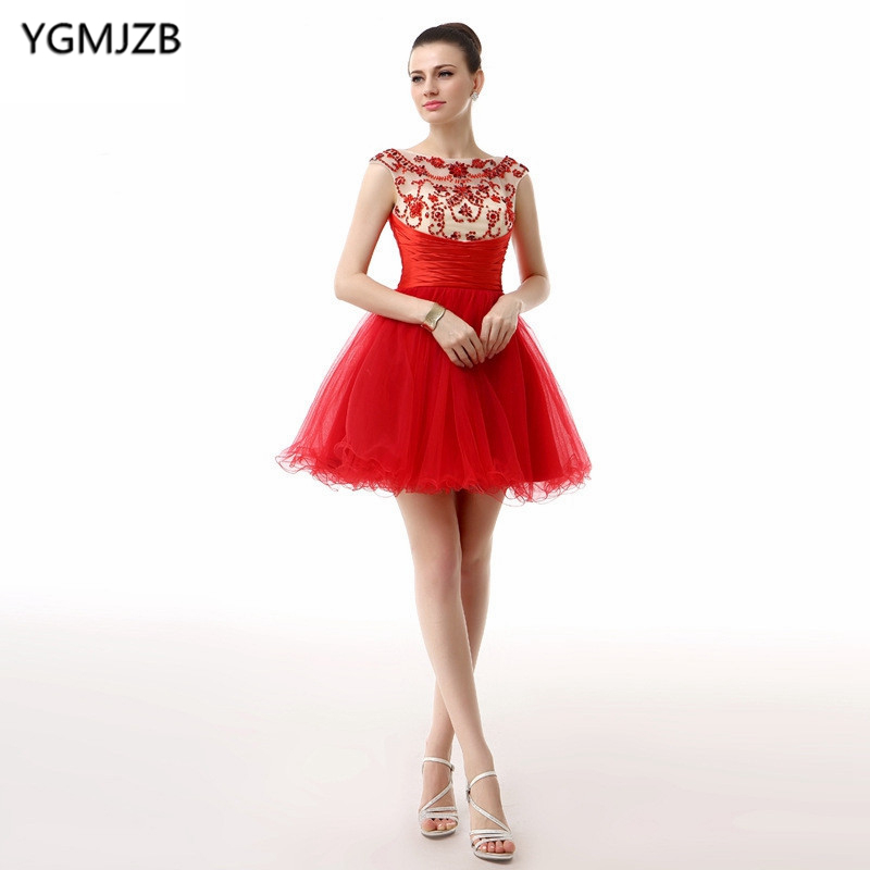 Elegant   Cocktail     dress   2018 Beading Crystal Cap Sleeves V Back Tulle Mini Red Short Prom   Dresses   Homecoming   Dresses