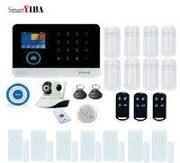Smartyiba WI FI приложение Управление Автодозвон сигнализации дома Системы паника охранной alarmes дым/огонь Сенсор синий флэш сирена Наборы