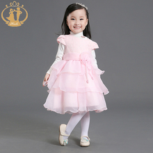 Baby Girl Clothes Layered-dress Flower Autumn Winter Embroidery Organza Cute Costume for Party Wedding 2016