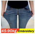 Women embroidery Red lip Jeans for pregnant women maternity clothes plus size pregnancy pants ladies leggins clothes