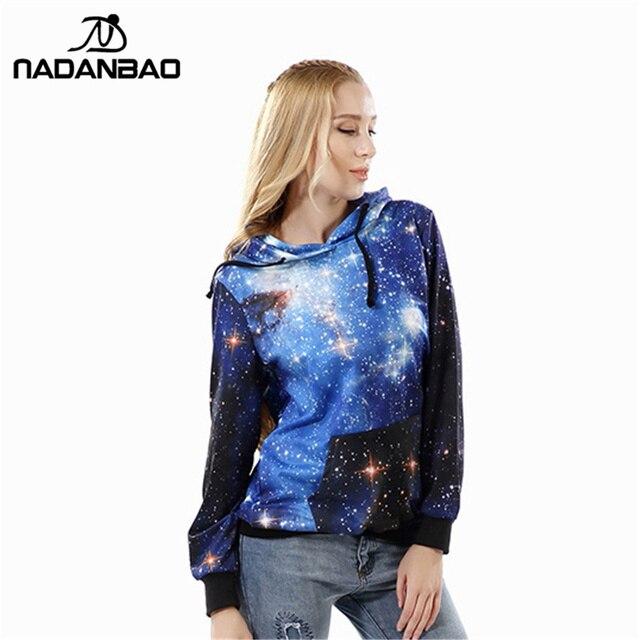 Nadanbao печатных galaxy blue толстовки женщин moletom женский костюм с капюшоном вне женщины sudaderas толстовка суперзвезда