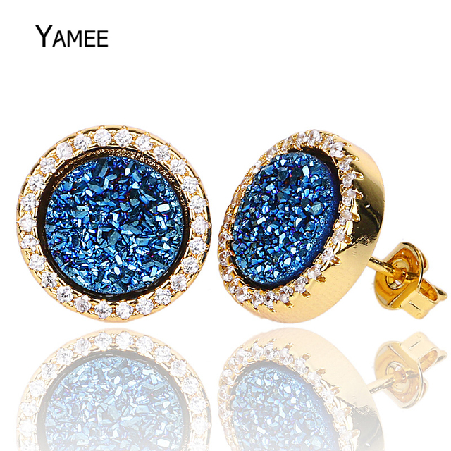 86b295da0 Qualities Blue Natural Stone Earrings with Rhinestone Mixed Color Nature Druzy  Stud Earrings Fashion Jewelry Crystal Earings. 2 orders. SPECIAL BLACK  FRIDAY ...